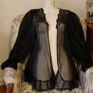 Vintage 80s super sexy sheer lingerie jacket robe